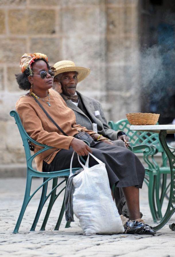 Havana - old couple take a break - Cuba