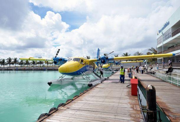 Maldives,DHC Twin Otter seaplane of TMAt