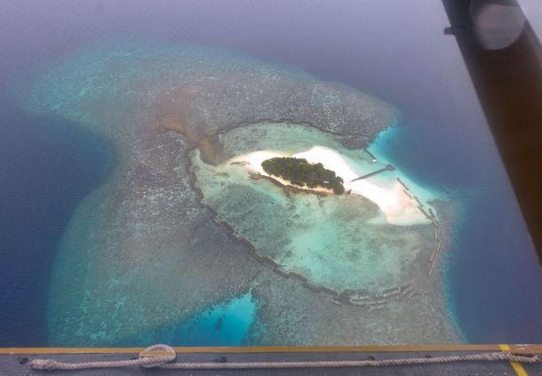 Maldives,isolated island resort from air 2
