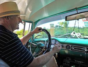 Trinidad - Geoff driving 55 Chevvy BelAir - La Boca - Ancon Peninsula - Cuba