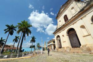 Trinidad - Plaza Mayor with Inglesia Santisima church to right 2 - Cuba