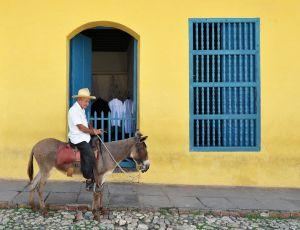 Trinidad - man with cigar on donkey - Cuba