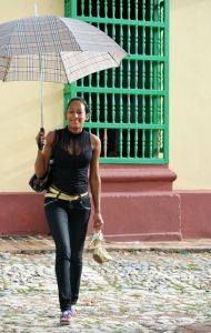 Trinidad - old town - girl with parasol - Cuba