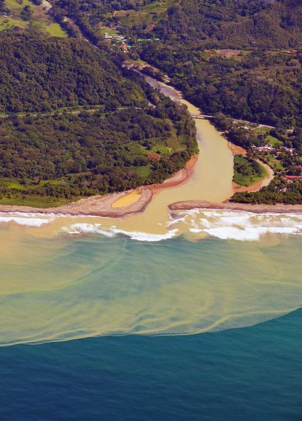 River mouth and storm sediment, Pacific Coast, Costa Rica