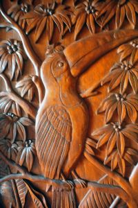 Wooden door carving, Costa Rica