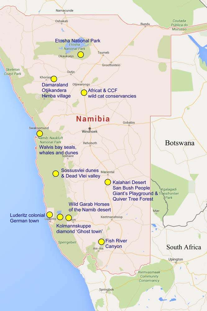 Namibia site map
