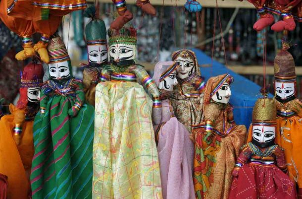 India, Kerala, Cochin, puppets in market