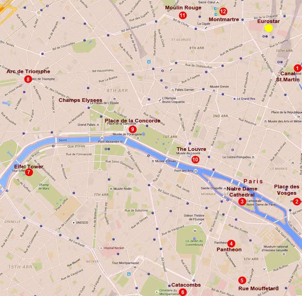 Paris walking map